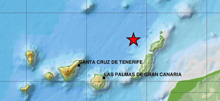Small Earthquake detected of the west coast off Lanzarote