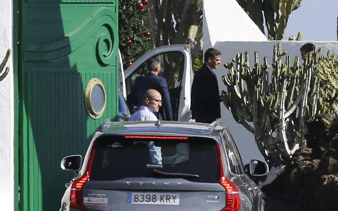 Pedro Sanchez arrives in Lanzarote