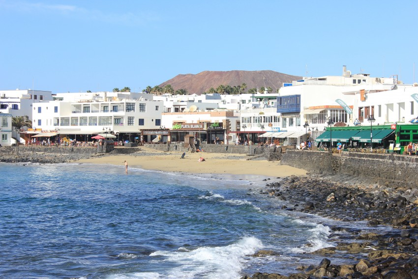 Beach in the old town of Playa Blanca